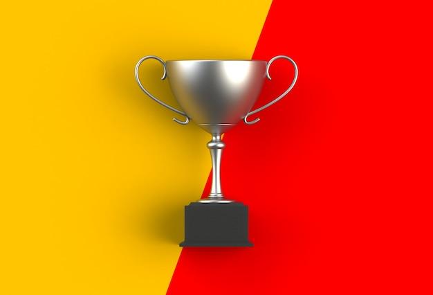 Trophée sur jaune avec planche rouge, rendu 3d