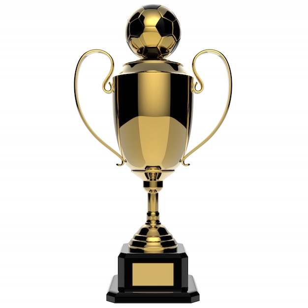 Trophée d'or de football isolé sur blanc avec un tracé de détourage