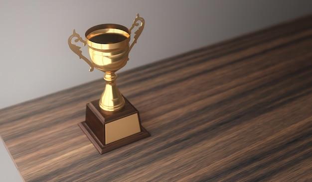 Trophée d'or de rendu 3d champion placé sur la table