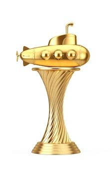 Trophée d'or sous-marin de style dessin animé jouet sur fond blanc. rendu 3d