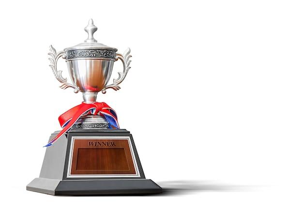 Trophée pour le champion de la compétition sportive isolé sur blanc