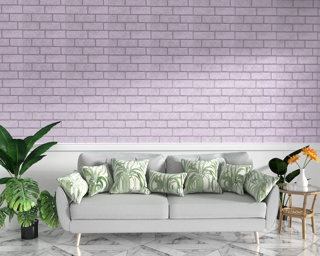 Tropical maquette avec canapé et décoration et mur de briques roses sur sol en granit