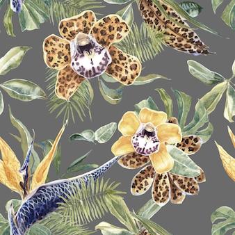 Tropical seamless pattern avec des fleurs exotiques et des feuilles de palmier