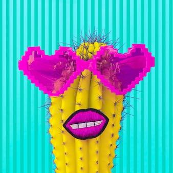 Tropical vacation hipster cactus dans des coeurs de lunettes de soleil élégants. ambiance hawaïenne