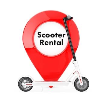 Trottinette électrique eco moderne blanche avec épingle de pointeur de carte de location de scooter rouge sur fond blanc. rendu 3d