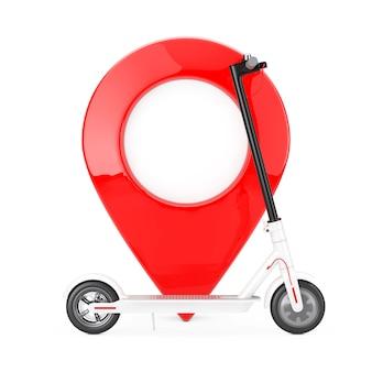 Trottinette électrique eco moderne blanche avec épingle de pointeur de carte rouge sur fond blanc. rendu 3d