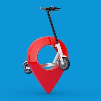 Trottinette électrique eco moderne blanche avec épingle de pointeur de carte rouge sur fond bleu. rendu 3d