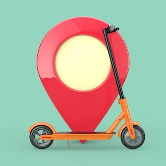 Trottinette électrique eco moderne orange avec épingle de pointeur de carte rouge sur fond bleu. rendu 3d