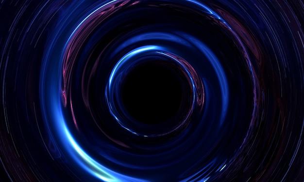 Trou de ver abstrait ou spirale de trou noir dans l'espace avec du gaz et de la poussière