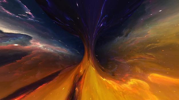 Trou de ver de galaxie d'univers de trou noir, monde parallèle, absorption de matière