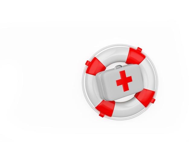 Trousse de premiers soins et bouée de sauvetage rouge-blanc
