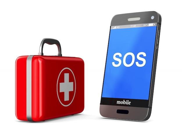 Trousse de premiers soins et téléphone sur fond blanc. illustration 3d isolée