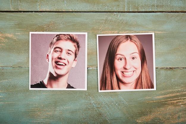 Trouver le concept de l'âme sœur. photos de portrait de couple sur un espace en bois