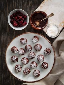 Truffes au chocolat en bonne santé avec noix, dattes, canneberges séchées et flocons de noix de coco.