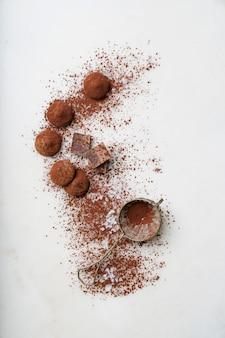 Truffes au chocolat et cacao en poudre
