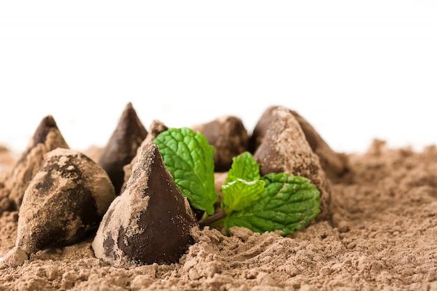 Truffes au chocolat maison et fond blanc isolé menthe