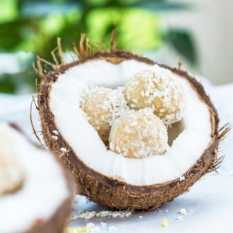 Truffes végétaliennes brutes de noix de coco et de citron dans le refuge de noix de coco