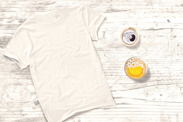 Tshirt blanc avec boissons