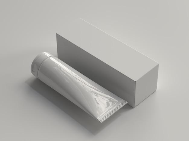 Tube cosmétique rendu 3d avec boîte sans étiquette