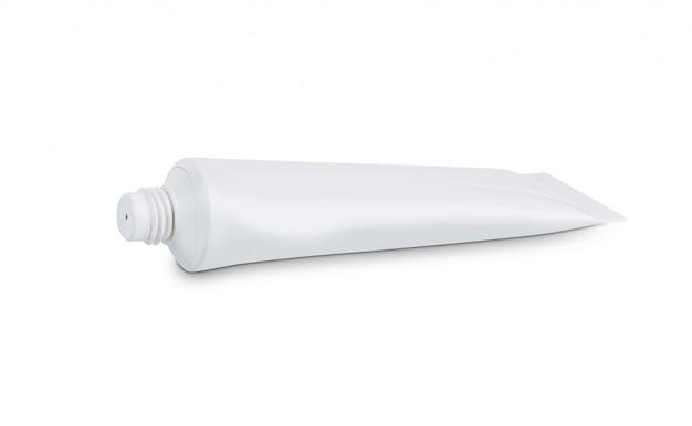 Tube de crème de peau blanche conditionneur d'hygiène cosmétique isolé sur fond blanc