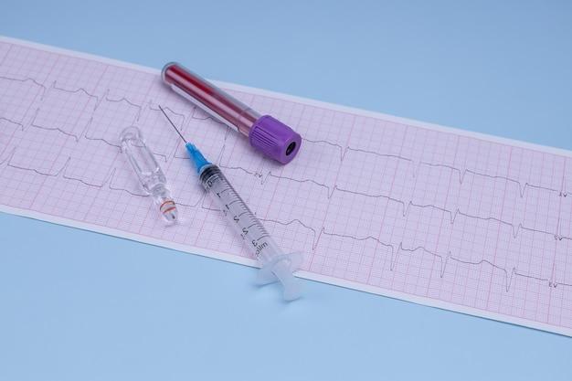 Un tube à essai avec du sang un électrocardiogramme une seringue et une ampoule avec un médicament