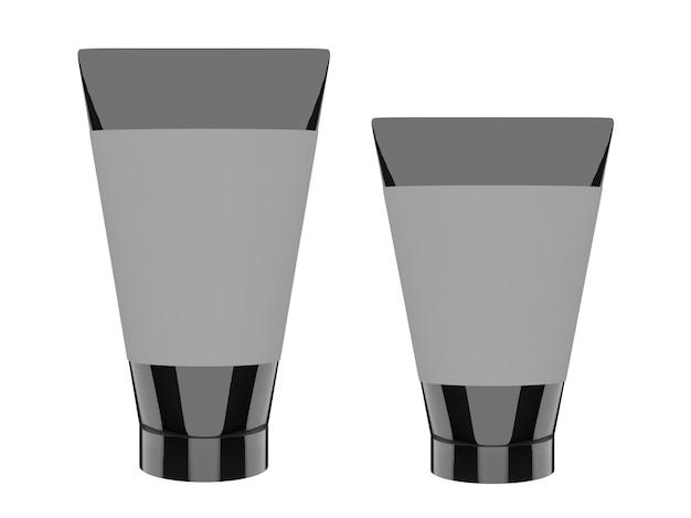Tube noir de conception d'emballage de produit vierge pour la publicité de soins de la peau
