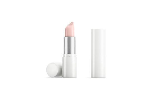 Le tube de rouge à lèvres blanc ouvert et fermé se moque de la vue de face de la maquette du boîtier en plastique fondant vide