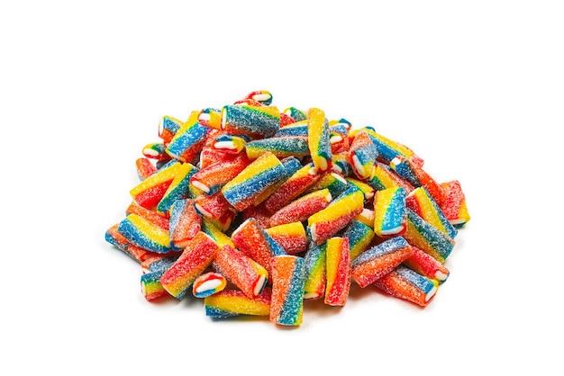 Tubes colorés, bonbons à la gelée. vue de dessus.