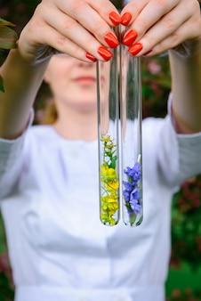 Tubes à essai en verre avec des échantillons de fleurs