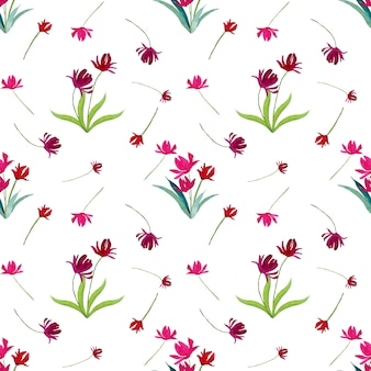 Tulipes aquarelles roses et violettes
