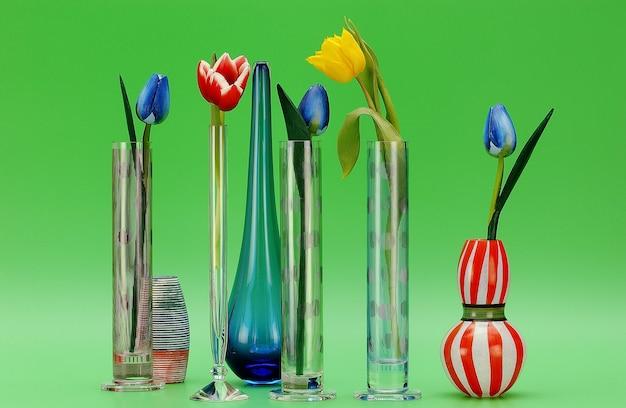 Tulipes artificielles dans des vases en verre