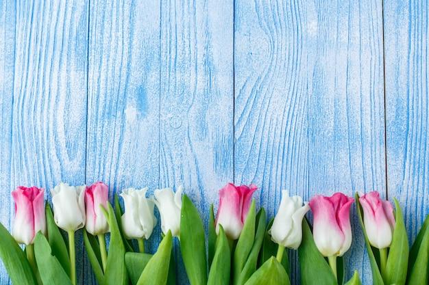 Tulipes aux macarons sur fond en bois bleu. tulipes rustiques.