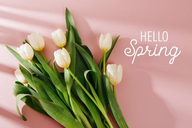 Tulipes blanches sur fond rose pâle avec la lumière du soleil du matin. compositions élégantes aux couleurs pastel.