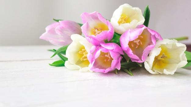 Tulipes blanches et violettes sur un fond en bois blanc.