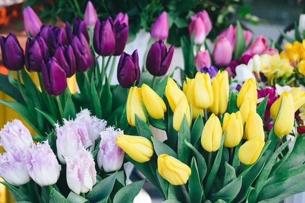Tulipes de couleurs différentes sur le comptoir de fleurs