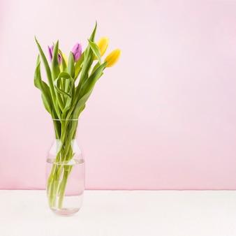 Tulipes fraîches à l'intérieur d'un vase