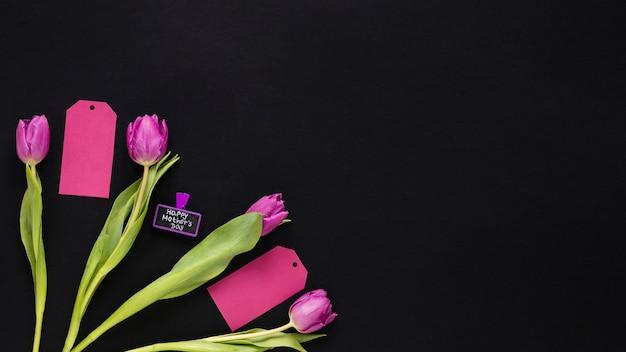 Tulipes avec inscription heureuse fête des mères