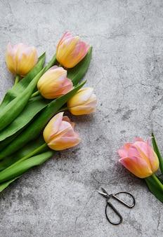 Tulipes de printemps sur une surface en béton, concept de cadeau de fête des mères