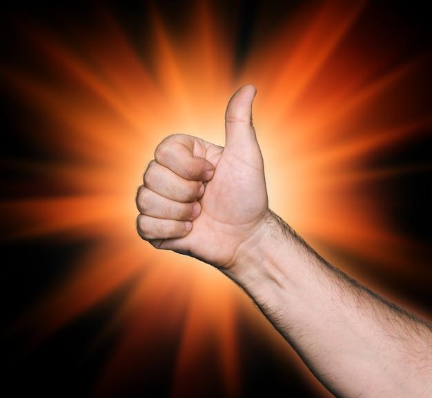 Tum up signe sur fond abstrait étoile rouge