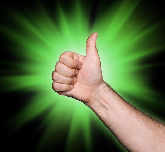Tum up signe sur fond abstrait étoile verte
