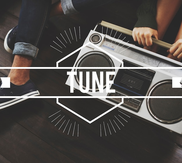Tune vintage vector graphic concept