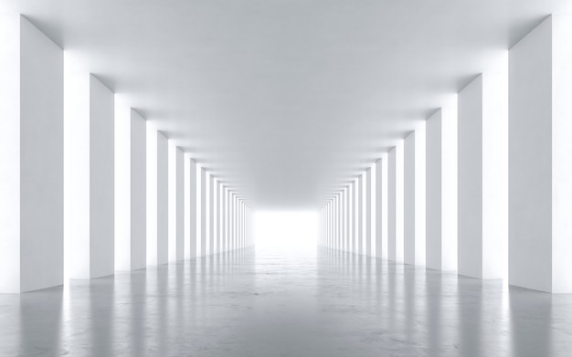 Tunnel abstrait blanc. rendu 3d