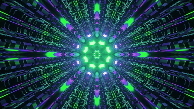 Tunnel circulaire de science-fiction avec éclairage au néon 4k uhd 3d illustration