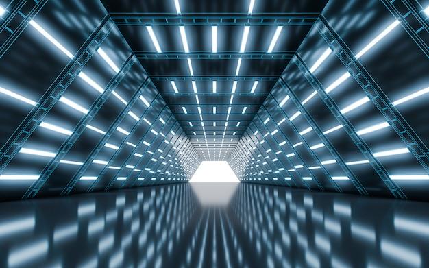 Tunnel de couloir éclairé avec lumière