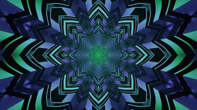 Tunnel en forme d'étoile avec éclairage au néon 4k uhd 3d illustration