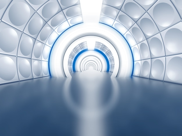 Tunnel futuriste comme couloir de vaisseau spatial