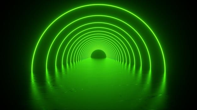Tunnel laser vert clair tunnel rond avec réflexion au sol