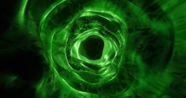Tunnel organique vert, fond de trou de ver