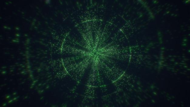 Tunnel technologique, lignes numériques, big data. rendu 3d volant dans le tunnel technologique numérique.