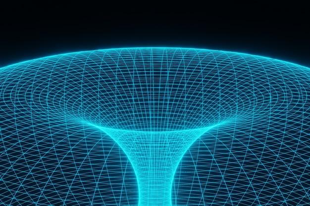 Tunnel technologique numérique futuriste bleu rendu 3d d'animation de trou noir